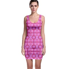 Pretty Pink Flower Pattern Bodycon Dresses