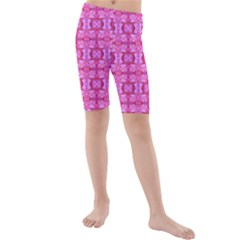Pretty Pink Flower Pattern Kid s Mid Length Swim Shorts