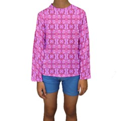 Pretty Pink Flower Pattern Kid s Long Sleeve Swimwear