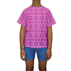 Pretty Pink Flower Pattern Kid s Short Sleeve Swimwear