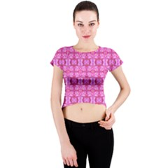 Pretty Pink Flower Pattern Crew Neck Crop Top