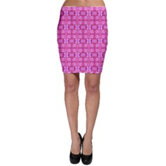 Pretty Pink Flower Pattern Bodycon Skirts
