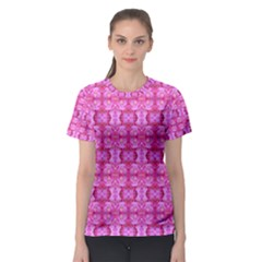 Pretty Pink Flower Pattern Women s Sport Mesh Tees