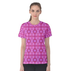 Pretty Pink Flower Pattern Women s Cotton Tee