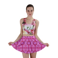 Pretty Pink Flower Pattern Mini Skirts