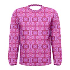 Pretty Pink Flower Pattern Men s Long Sleeve T-shirts