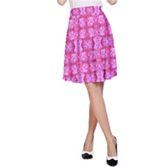 Pretty Pink Flower Pattern A-Line Skirt
