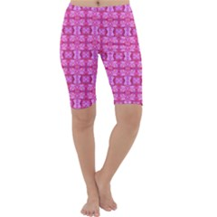 Pretty Pink Flower Pattern Cropped Leggings