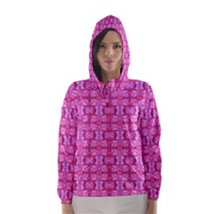 Pretty Pink Flower Pattern Hooded Wind Breaker (Women)