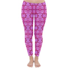 Pretty Pink Flower Pattern Winter Leggings