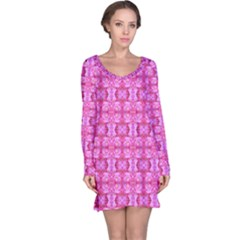 Pretty Pink Flower Pattern Long Sleeve Nightdresses