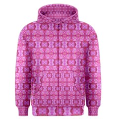 Pretty Pink Flower Pattern Men s Zipper Hoodies