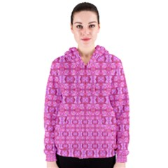 Pretty Pink Flower Pattern Women s Zipper Hoodies