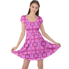 Pretty Pink Flower Pattern Cap Sleeve Dresses