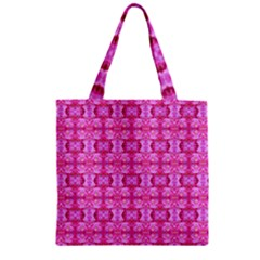 Pretty Pink Flower Pattern Zipper Grocery Tote Bags