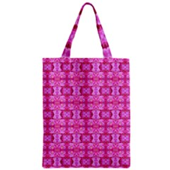 Pretty Pink Flower Pattern Zipper Classic Tote Bags