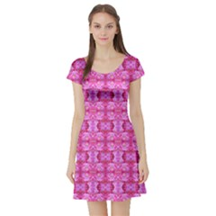 Pretty Pink Flower Pattern Short Sleeve Skater Dresses