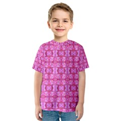 Pretty Pink Flower Pattern Kid s Sport Mesh Tees