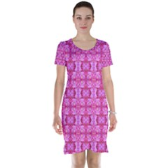 Pretty Pink Flower Pattern Short Sleeve Nightdresses