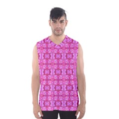 Pretty Pink Flower Pattern Men s Basketball Tank Top
