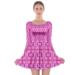 Pretty Pink Flower Pattern Long Sleeve Skater Dress