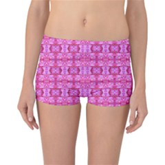 Pretty Pink Flower Pattern Reversible Boyleg Bikini Bottoms