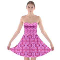 Pretty Pink Flower Pattern Strapless Bra Top Dress