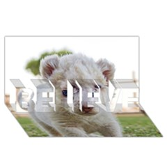 White Lion Cub Believe 3d Greeting Card (8x4)  by trendistuff