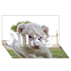 White Lion Cub Hugs 3d Greeting Card (8x4)  by trendistuff