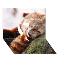 Red Panda Ribbon 3d Greeting Card (7x5)  by trendistuff