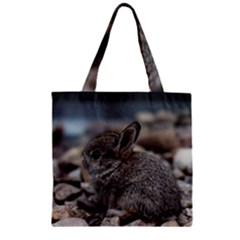 Small Baby Bunny Zipper Grocery Tote Bags by trendistuff