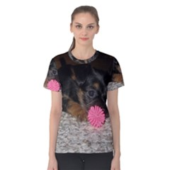 Puppy With A Chew Toy Women s Cotton Tee by trendistuff