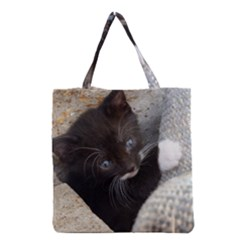 Pretty Blue-eyed Kitty Grocery Tote Bags by trendistuff
