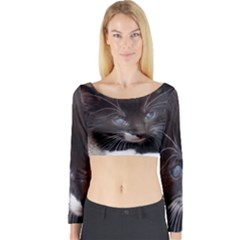 Kitty In A Corner Long Sleeve Crop Top