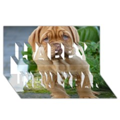 Cute Wrinkly Puppy Happy New Year 3d Greeting Card (8x4)  by trendistuff