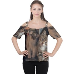 Cute Kitties Women s Cutout Shoulder Tee