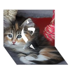Comfy Kitty Ribbon 3d Greeting Card (7x5)  by trendistuff