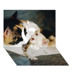 Calico Cat And White Kitty Ribbon 3d Greeting Card (7x5)