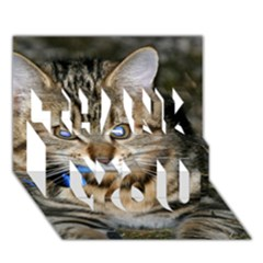 Blue Eyed Kitty Thank You 3d Greeting Card (7x5)  by trendistuff