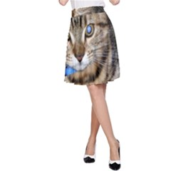 Blue Eyed Kitty A Line Skirt