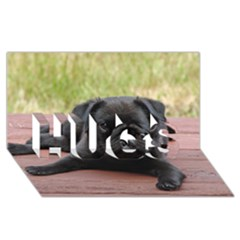 Alert Pug Puppy Hugs 3d Greeting Card (8x4)