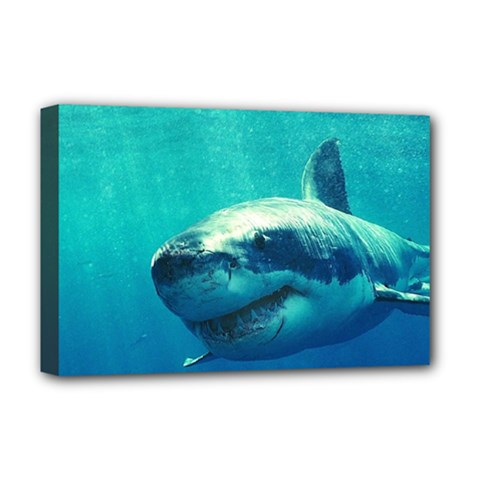 Great White Shark 1 Deluxe Canvas 18  X 12   by trendistuff
