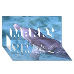 Dolphin 2 Merry Xmas 3d Greeting Card (8x4)