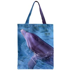 Dolphin 2 Zipper Classic Tote Bags