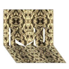 Gold Fabric Pattern Design I Love You 3d Greeting Card (7x5)  by Costasonlineshop