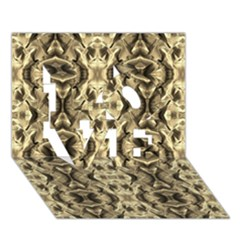 Gold Fabric Pattern Design Love 3d Greeting Card (7x5)