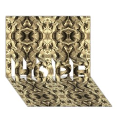 Gold Fabric Pattern Design Hope 3d Greeting Card (7x5)  by Costasonlineshop