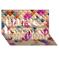 Mosaic & Co 01a  Happy Birthday 3d Greeting Card (8x4)  by MoreColorsinLife