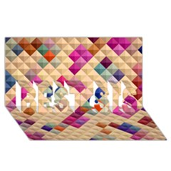 Mosaic & Co 01a  Best Sis 3d Greeting Card (8x4)  by MoreColorsinLife