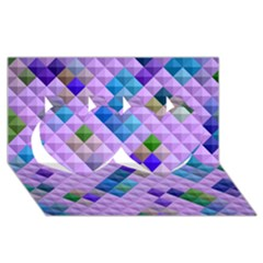 Mosaic & Co 01b Twin Hearts 3d Greeting Card (8x4)  by MoreColorsinLife